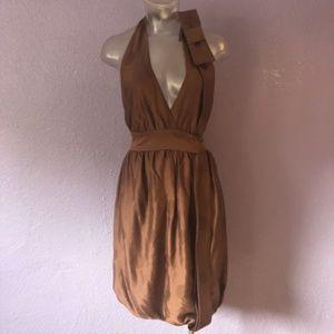 STELLA McCARTNEY $1195 Silk Dot Halter Dress Brown
